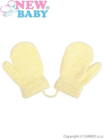 Dětské zimní rukavičky New Baby se šňůrkou světle žluté