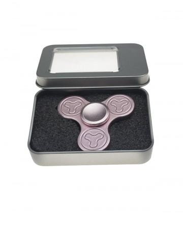 Fidget spinner - din metal, în cutie cadou - roz [9077]