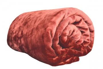 Pătură din microflanel, dimensiuni 200x220 cm - maro-portocaliu