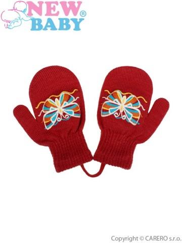 Dětské zimní rukavičky New Baby s motýlkem červené