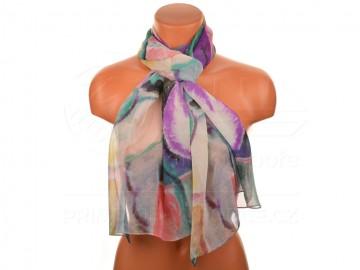 Letní šátek - abstraktní, 165x50cm - bílý