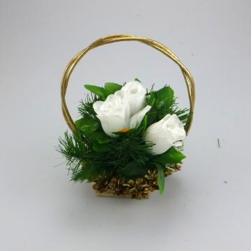 Koszorú arany toboz - 13x15 cm, 3 virág