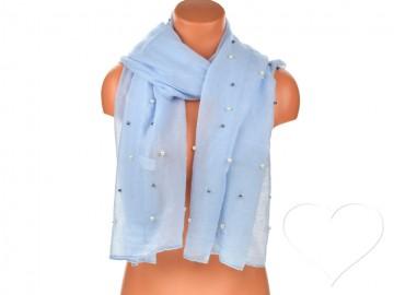 Eșarfă pentru femei de o culoare din bumbac cu perle - azuriu