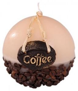 Zalévaná svíčka – koule, zdobená kávou, 440g