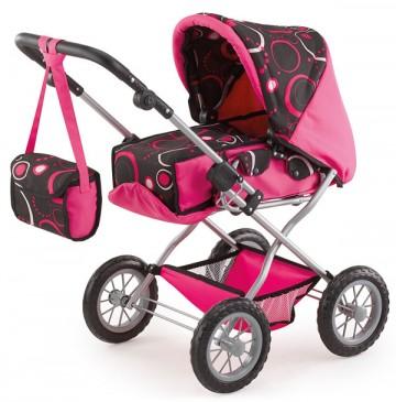 Kočárek pro panenky Bayer Kombi Grande růžovo-černý