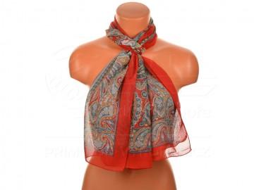 Letní šátek s motivem orientálních květin, 165x50cm - červený