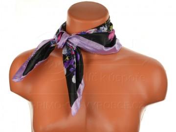 Malý šátek s motivem květin, 55x55cm - světle fialový