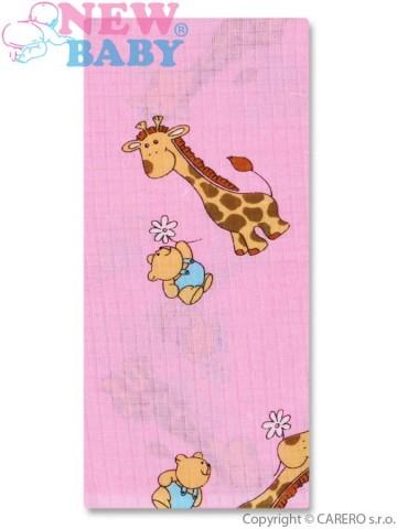 Bavlněná plena s potiskem New Baby růžová s žirafkou