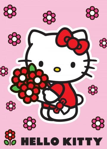 Dětský koberec Hello Kitty Red flowers 95/133