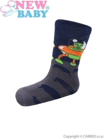 Detské bavlnené ponožky New Baby sivé ufo