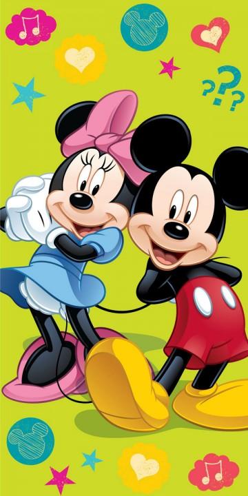 Plážová osuška Mickey a Minnie green 2015 75/150