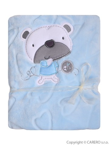 Detská deka Koala Srdiečka modrá s medvedíkom