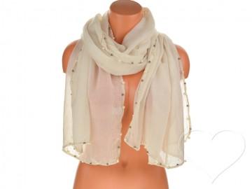 Dámský jednobarevný bavlněný šátek s perlami - krémový