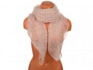 Letní šátek s motivem květů, 170x75cm - světle růžový
