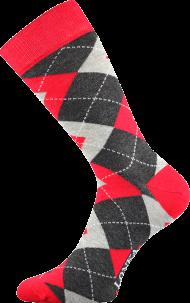 Ponožky Káro, červené - 1 pár, velikost 39-42