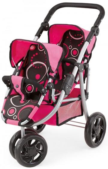Kočárek pro panenky Twin Jogger růžovo-černý