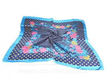 Šátek 90x90 lesklý květiny - modrý