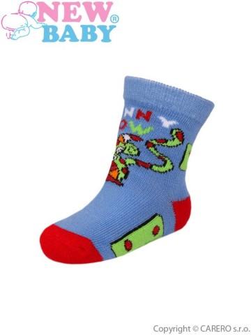 Detské ponožky New Baby s ABS modré funny cow