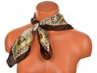 Malý šátek s motivem květinové zahrady, 55x55cm - hnědý