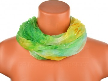 Dámský batikovaný tunelový šátek s kamínky - zelenožlutý