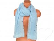 Dámský jednobarevný bavlněný šátek s perlami - modrý