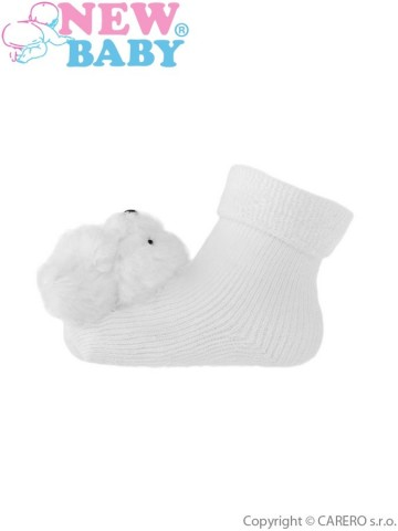 Dojčenské ponožky s hrkálkou New Baby biele