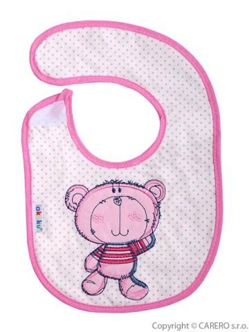 Dětský bryndák Akuku růžový s medvídkem