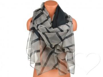 Dámský pruhovaný šátek - šedý