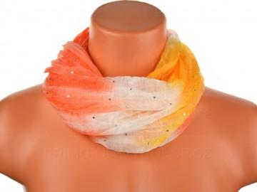 Dámský batikovaný tunelový šátek s kamínky - oranžový