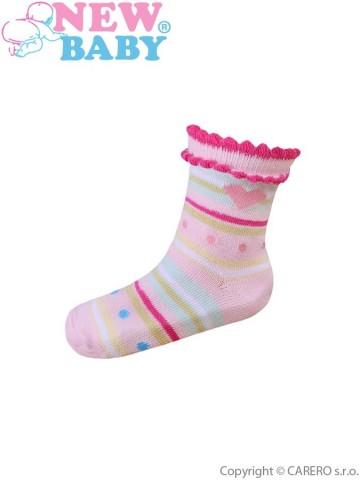 Dojčenské bavlnené ponožky New Baby ružové s pruhmi a bodkami