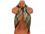 Velký šátek s motivem exotických květů, 90x90 cm - hnědý