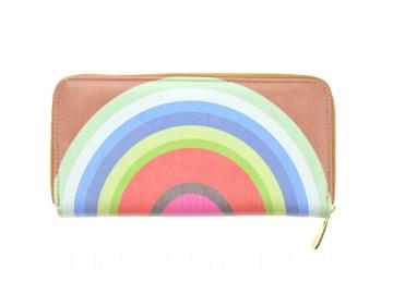 Női pénztárca színes körök - barna [6806]