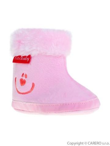 Dětské zimní capáčky Bobo Baby 12-18m růžové smile