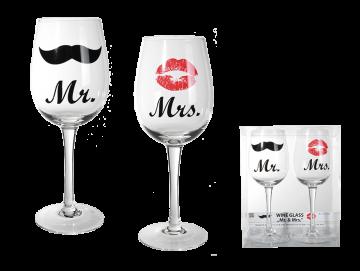 Sada sklenic na víno Mr. & Mrs.