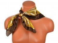 Malý šátek s koňáckým motivem, 55x55cm - hnědý