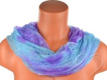 Dámský batikovaný tunelový šátek s kamínky - modrofialový