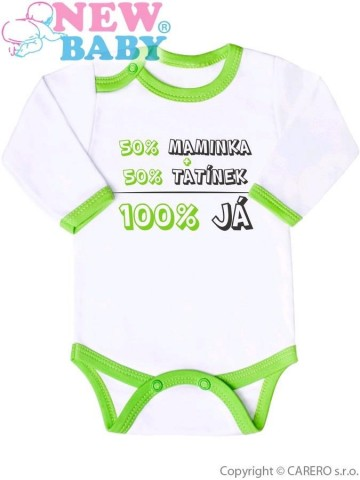Body s potiskem New Baby 50% MAMINKA + 50% TATÍNEK - 100% JÁ zelené