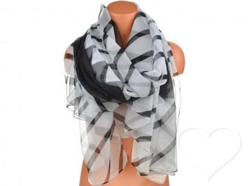 Dámský pruhovaný šátek - černý