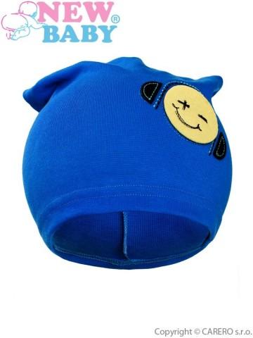 Podzimní dětská čepička New Baby smajlík modrá