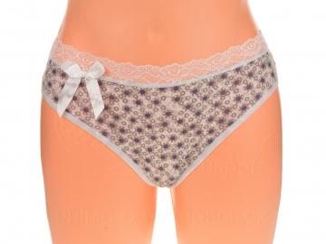 Kalhotky tanga s květinami a mašlí - 1 ks, bílé, velikost L/XL
