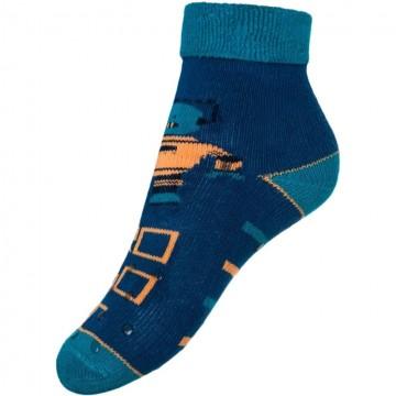 Dětské froté ponožky New Baby s ABS tmavě modré robot