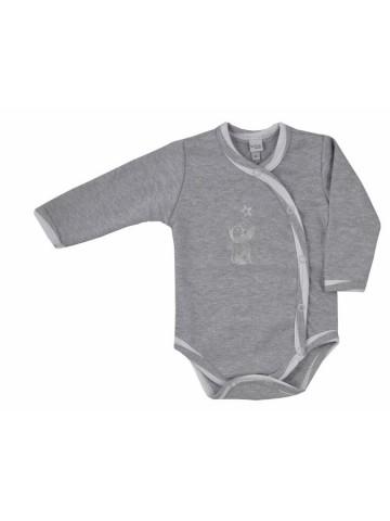 Dojčenské body celorozopínacie Bobas Fashion Strieborná Mačka sivé