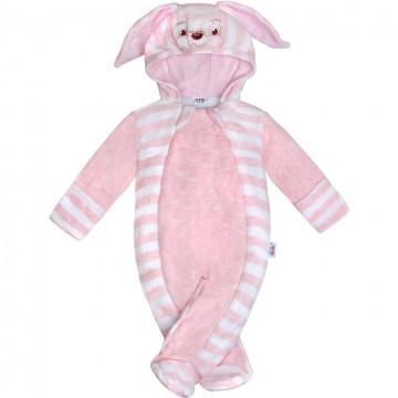Kojenecká semišková kombinéza New Baby Rabbit růžová