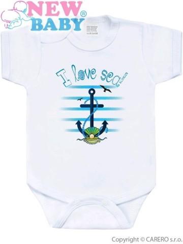 Body s potlačou New Baby Marine modré