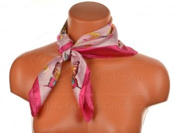 Malý šátek s motivem motýla, 55x55cm - růžový