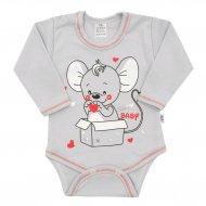 Kojenecké body s dlouhým rukávem New Baby Mouse šedé