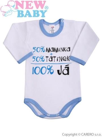 Body s dlouhým rukávem s českým nápisem New Baby modré