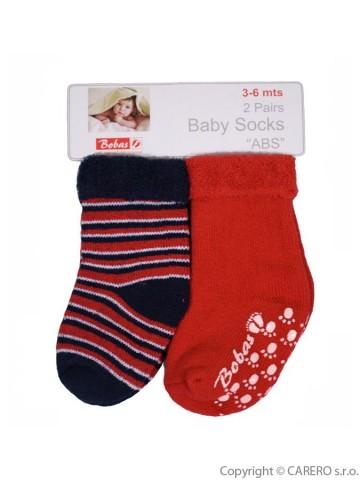 Ciorapi plușați pentru bebeluși Bobo Baby roșii 2 perechi, mărimea 3-6 luni
