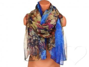 Dámský šátek s květinami - modrý