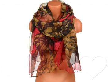 Dámský šátek s květinami - vínový